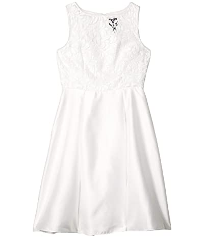 Adrianna Papell Illusion Guipure Mikado Dress (Ivory) Women