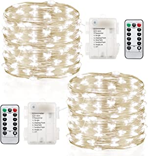 GDEALER 2 Pack Fairy Lights 20 Ft 60 Led Battery Operated Christmas Lights with Remote Control Timer Waterproof Copper Wire Twinkle String Lights for Thanksgiving Christmas Decorations Bedroom Wedding