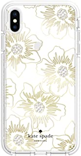 Kate Spade New York Phone Case | for Apple iPhone Xs Max | Protective Phone Cases with Slim Design, Drop Protection, and Floral Print - Reverse Hollyhock Floral Clear/Cream with Stones
