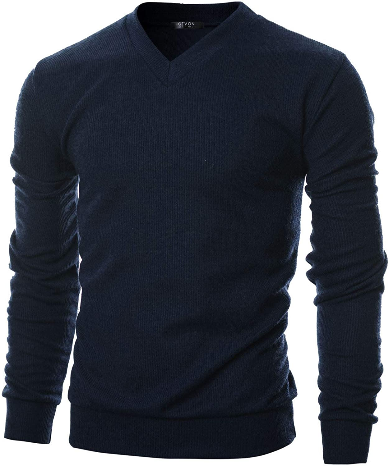 GIVON Mens Ranking integrated 1st place Slim Fit Soft Cotton Pullover V-Neck Sweater Clearance SALE Limited time Blend