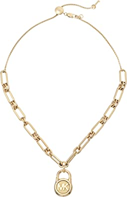 MK Logo Chain Link Choker Necklace