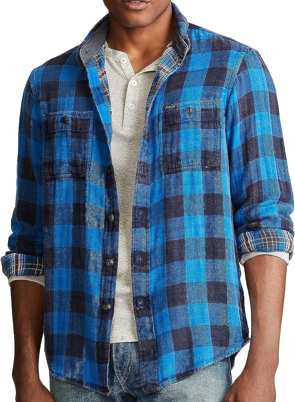 Polo Country Ralph Lauren Mens Blue Sportsman Plaid Western Shirt