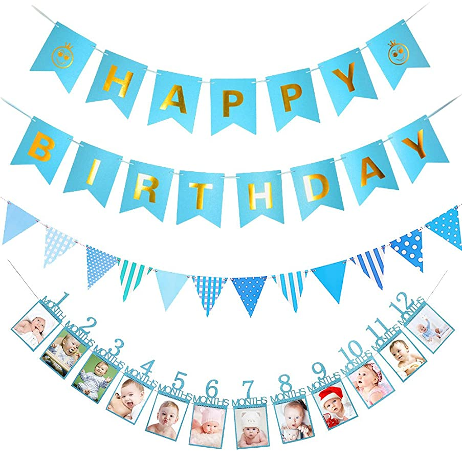 LOLOAJOY Blue Smile Happy Birthday Banner Triangular Flag Banner 1-12 Month Photo Banner Monthly Photo Wall Kids Birthday Gift Decorations
