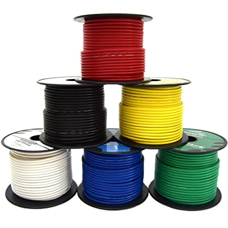 14 GA Single Conductor Stranded Remote Wire 6 Rolls Primary Colors 12V 100FT EA
