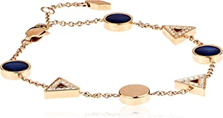 Fossil Women Cubic Zirconia Classic Rose Gold Plated Triangle Blue Mother of Pearl Bracelet