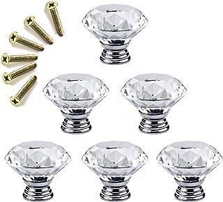 Dooppa Lot de 6 boutons de porte en cristal avec vis pour placard de cuisine, tiroir, décoration de maison, 40 mm, transparent