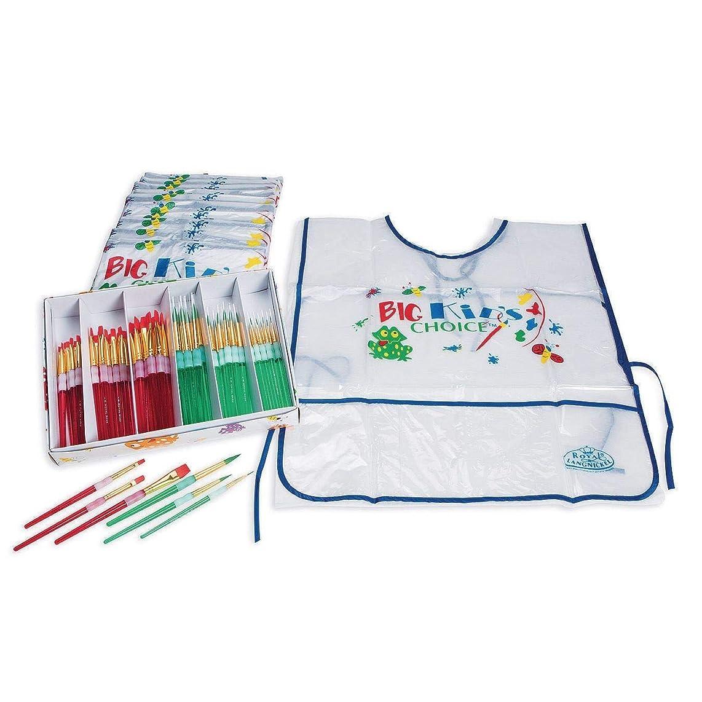 Royal Brush 405892 Big Kids Choice Paint Brush and Apron Combo Pack, Assorted Sizes