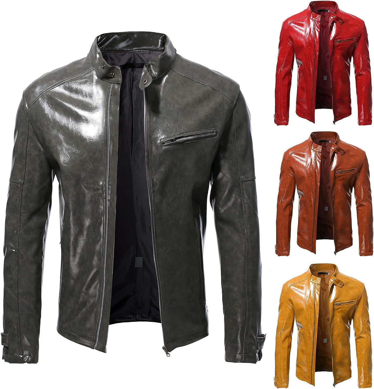 Men Leather Jackets,Vintage Classic Leather Zip Up Biker Bomber Jacket V1459