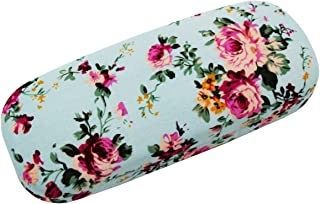 ZZ Sanity Flower Fabric Covered Clam Shell Style Eyeglass Case Spectacles Box