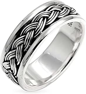 Mens Wheat Twisted Wide Rope Braid Band Ring For Women Beveled Edge Oxidized 925 Sterling Silver