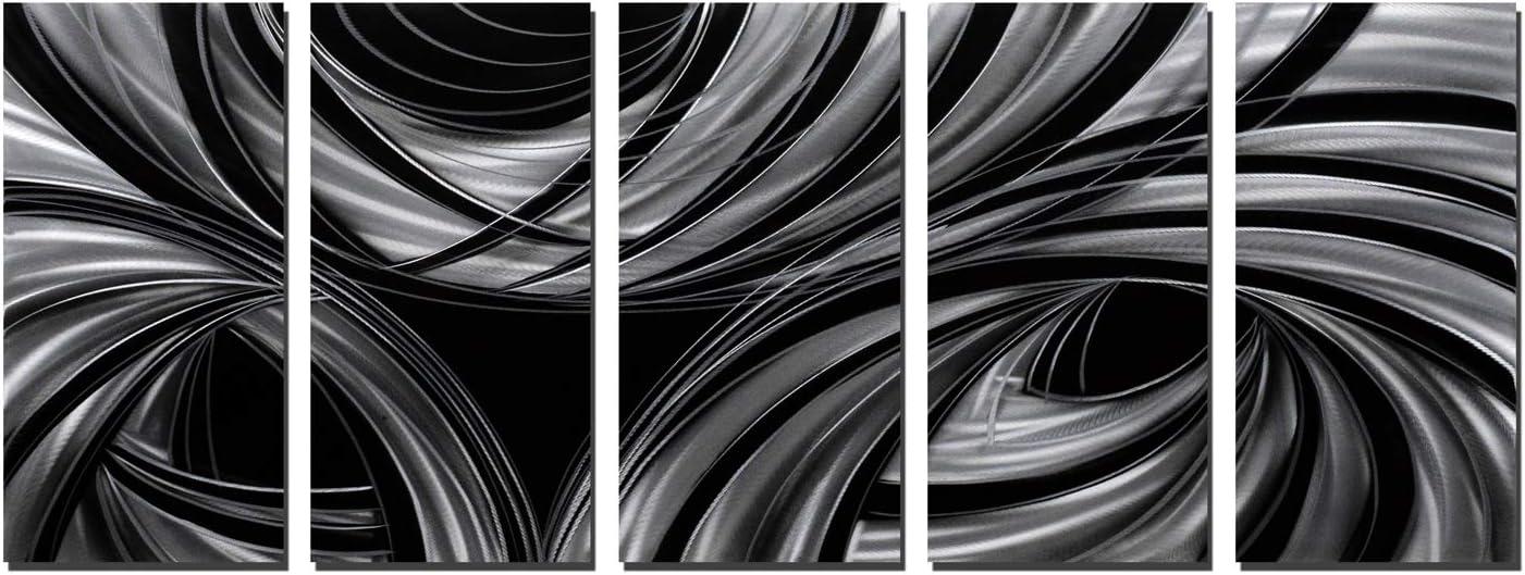 Black Metal Wall Art Abstract Designs Geometric Nippon regular agency sale Artwork Polished