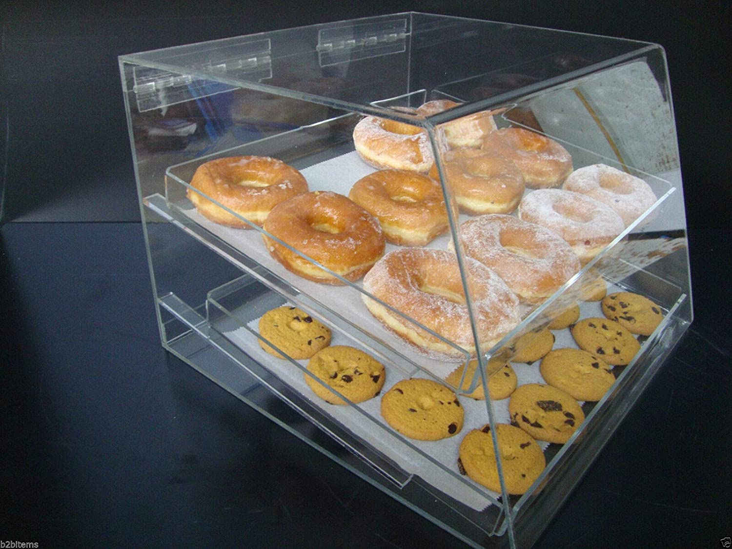 305Displays Acrylic 35% OFF Case w 2 trays Bagels Pastry Donut Animer and price revision Co Bakery