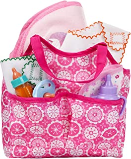 XADP 8 pcs Complete Doll Accessories Baby Diaper Bag Doll Bottle with Changing Set for Baby Dolls