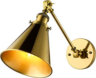 BAYCHEER Industrial Vintage Wall Sconce Wall Lamp Light Fixture with Cone Shade for Indoor Bar Warehouse Hallway Restaurant with E26 Light Bulb Socket, Gold