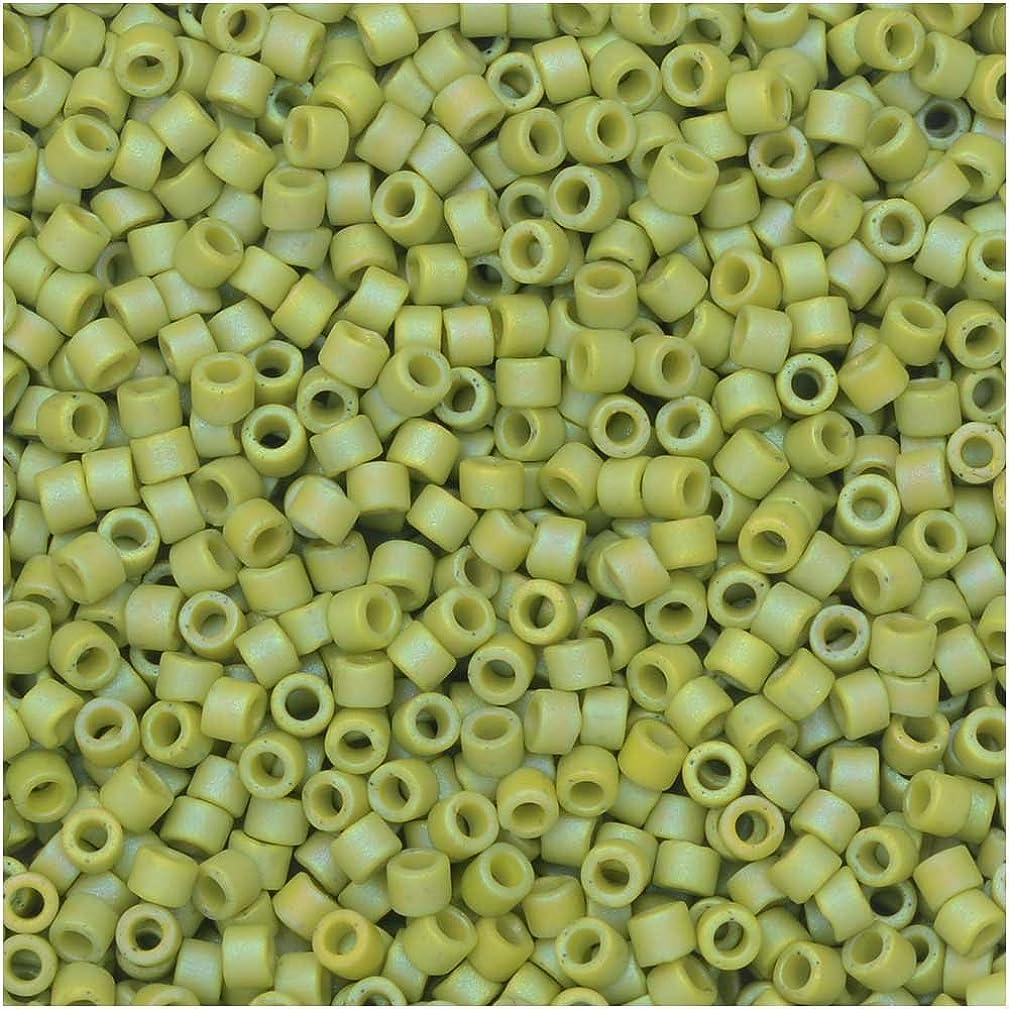 Miyuki Delica Seed Beads, 11/0 Size, 7.2 Gram Tube, 2309 Frosted Opaque Glazed Rainbow Olive