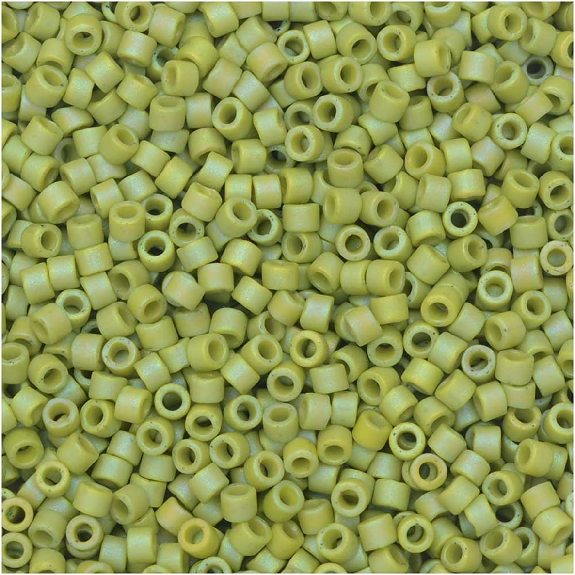 Miyuki Delica Seed Beads, 11/0 Size, 7.2 Gram Tube, 2309 Frosted Opaque Glazed Rainbow Olive