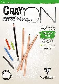 Clairefontaine 975028C - Un bloc encollé de papier dessin Cray'on 30 feuilles extra blanches 29,7x42 cm 160g