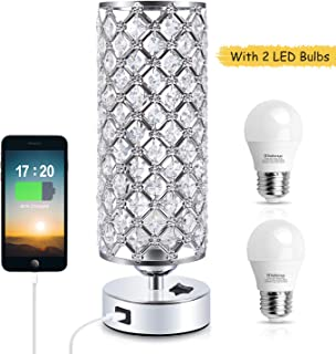 Crystal Table Lamp, Kakanuo Bedside Table Desk Lamp with USB Port, Modern Nightstand Lamp for Bedroom, Living Room, Office (2 LED Bulbs Included)