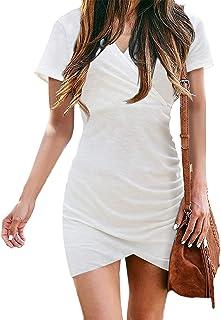 Women V Neck Short Sleeve Casual Wrap Dresses Solid Color...