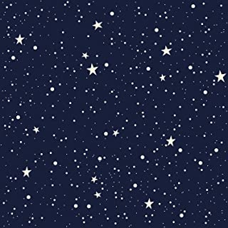 AMAZING WALL Night Sky Moon and Stars Pattern Shiny Film Peel and Stick Self Adhesive Wallpaper,15.7x198inch