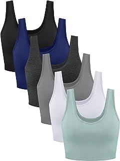 6 Pieces Women's U-Back Racerback Sports Bra Workout Crop Tops Seamless Cami Top (Medium)