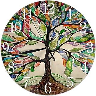 Retro färgglatt livets träd rund väggklocka tyst tickar ej batteridriven lätt att läsa för studenter kontor skola hem deko...