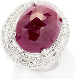 Pinctore Sterling Silver Indian Ruby & White Topaz Double Halo Ring