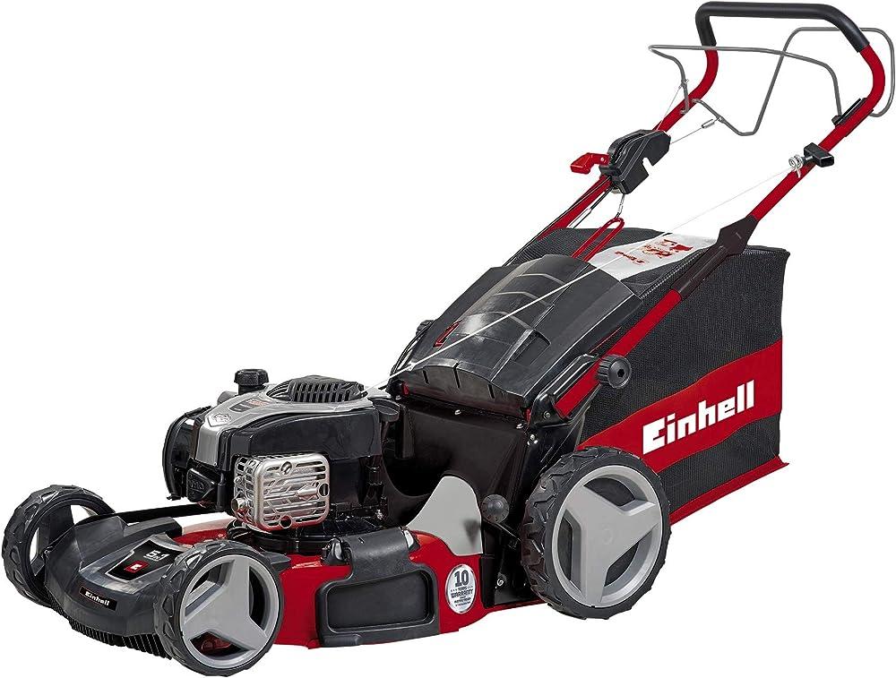 Einhell GE-PM 53 VS HW B&S- Cortacésped de gasolina (2300 W, altura de corte 6 niveles | 25-70 mm , ancho de corte 53 cm, hasta 1800m² de jardín, 80L de capacidad de bolsa) (ref.3404761)
