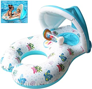 B&p Swimming Ring,Mother Baby Swim Floats,Pool Float Adjustable Sunshade Inflatable Baby Swim Ring,Boat Double Seats for 6-36 Months Floating Leisure Float Toy,Outdoor Summer Pool Best Gift