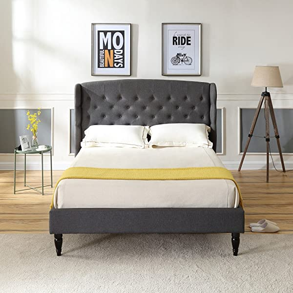 Brighton Upholstered Platform Bed Headboard And Wood Frame With Wood Slat Support Grey King