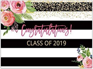 Allenjoy 7x5ft Floral Graduation Party Backdrop Class of 2019 Banner Pink Flowers Black and White Stripe Photography Background Grad Celebration Prom Decorations Photo Booth Props