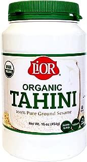 LiOR Certified Organic Tahini | 100% Pure Ground Sesame | Best for Hummus, Dressings, Sauce | Single-Sourced Origin | Vegan | Paleo | Kosher | 16oz Jar