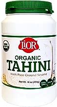 LiOR Certified Organic Tahini   100% Pure Ground Sesame   Best for Hummus, Dressings, Sauce   Single-Sourced Origin   Vegan   Paleo   Kosher   16oz Jar