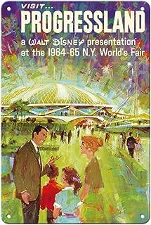 8in x 12in Vintage Tin Sign - Visit Walt Disney's Progressland - 1964 New York World's Fair - Vintage World Travel Poster c.1960s