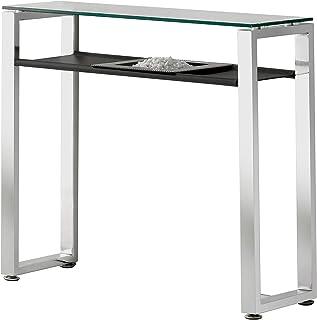 Adec - Recibidor Benetto Mueble de Entrada con Cristal Templado Simil Cuero Negro y Patas Cromadas Medidas: 90 cm (Larg...