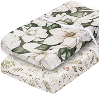 Pobibaby - 2 Pack Premium Changing Pad Cover - Ultra-Soft Cotton Blend, Stylish Floral Pattern, Safe and Snug for Baby (Ze...