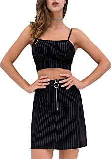 Apperloth Summer Two Piece Outfits for Women Striped Bodycon Skirt and Adjustable Spaghetti Strap Tank Cami Crop Sets