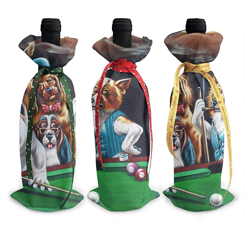 BUXI Printing Wine Bottle Cover,Perros Que Juegan Al Billar Bolsas ...