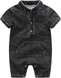 Fairy Baby Toddlers Baby Boys Summer Denim Outfit Onesie Short Sleeve Romper with Pockets