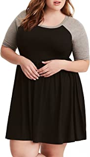 Bbalizko Womens Plus Size Tunic Dress Raglan Sleeve Badydoll Empire Waist Pleated A-Line Dress