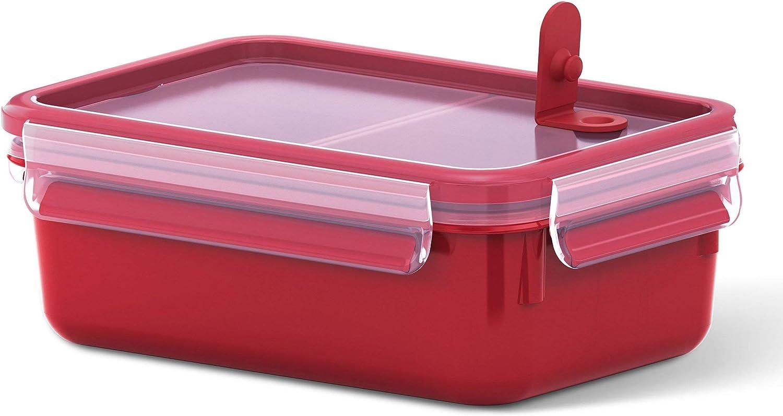 Emsa- Recipiente hermético para Almuerzo, Caja con Compartimentos, con Cierre, para microondas, plástico, Rojo, 1,0 l mit Einsätzen
