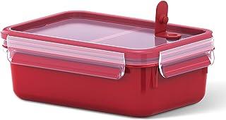 Emsa - Recipiente hermético para Almuerzo, Caja con Compartimentos, con Cierre, para microondas, plástico, Rojo, 1,0 l mit Einsätzen