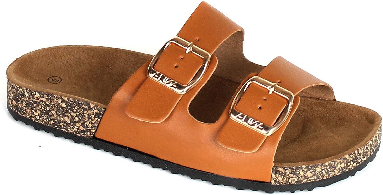 ANNA Home Collection Women's Casual Buckle Straps Sandals Flip Flop Platform Footbed