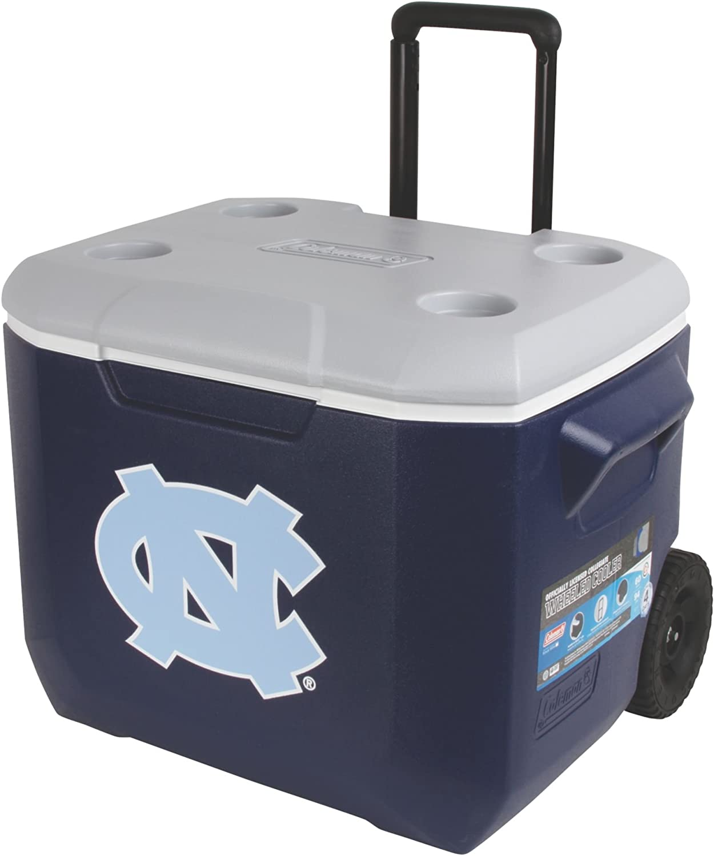 Coleman North Carolina Tar Heels Performance Wheeled Cooler, 60 quart, bluee Grey