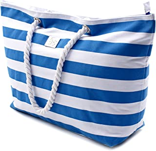 Large Canvas Striped Beach Bag - Top Zipper Closure -...