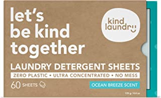 KIND LAUNDRY Detergent Sheets (60 loads, Ocean Breeze) - Hypoallergenic Eco-friendly & Biodegradable Eco-Strips for Sensit...
