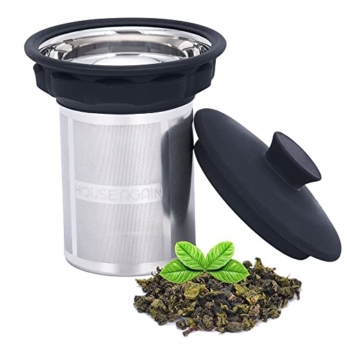 Extremely Fine Mesh Tea Infuser by House Again - Fits Standard Cups Mugs Teapots - Perfect Stainless Steel Filter for Brewing Steeping Loose Tea and Coffee, Large