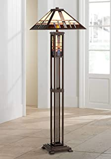 Mission Floor Lamp Art Deco with Nightlight Oiled Bronze Stained Glass Shade for Living Room Reading Bedroom - Robert Louis Tiffany