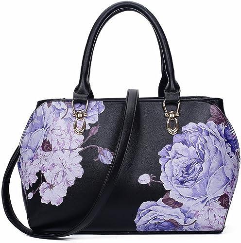 Sac à main Fleur Fleur De Femme féminine Paquet Diagonale à épaule De grande Capacité pivoine Noire
