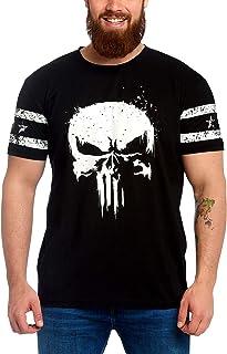 PUNISHER Camiseta Logo de Calaveras para Hombre, con Manga Marvel Elbenwald algodón Negro